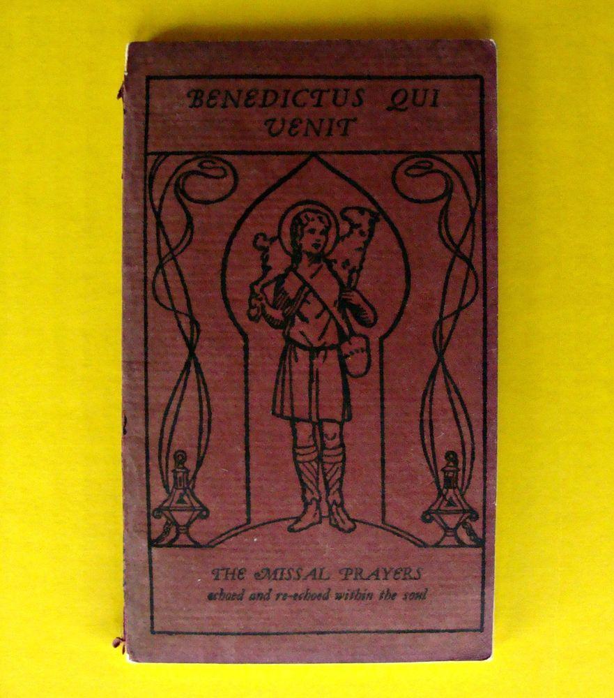 1935 Antique Missal Prayer Paperback Book Jesuit Priest Benedictus Qui Venit Disney Dragon Scrapbook Crafts Photo Craft