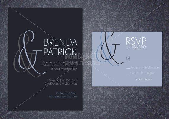Customizable Wedding Invitation Templates: Printable Custom Elegant Minimalist Wedding Invitation