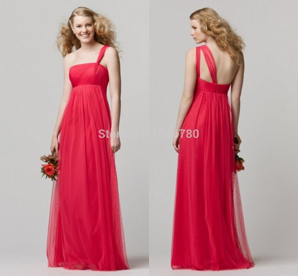 Find more bridesmaid dresses information about wholesale free find more bridesmaid dresses information about wholesale free shipping new sleeveless one shoulder chiffon red bridesmaid ombrellifo Image collections