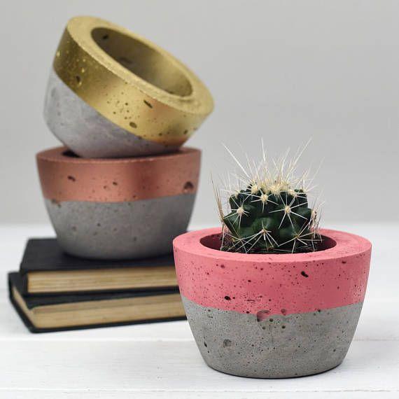 Concrete Colour Block Plant Pot Concrete Planter Cactus Etsy Concrete Plant Pots Concrete Planters Diy Concrete Planters