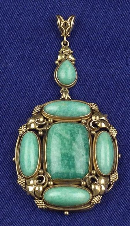 Arts & Crafts 14kt Gold and Amazonite Pendant | Sale Number 2277, Lot Number 461 | Skinner Auctioneers