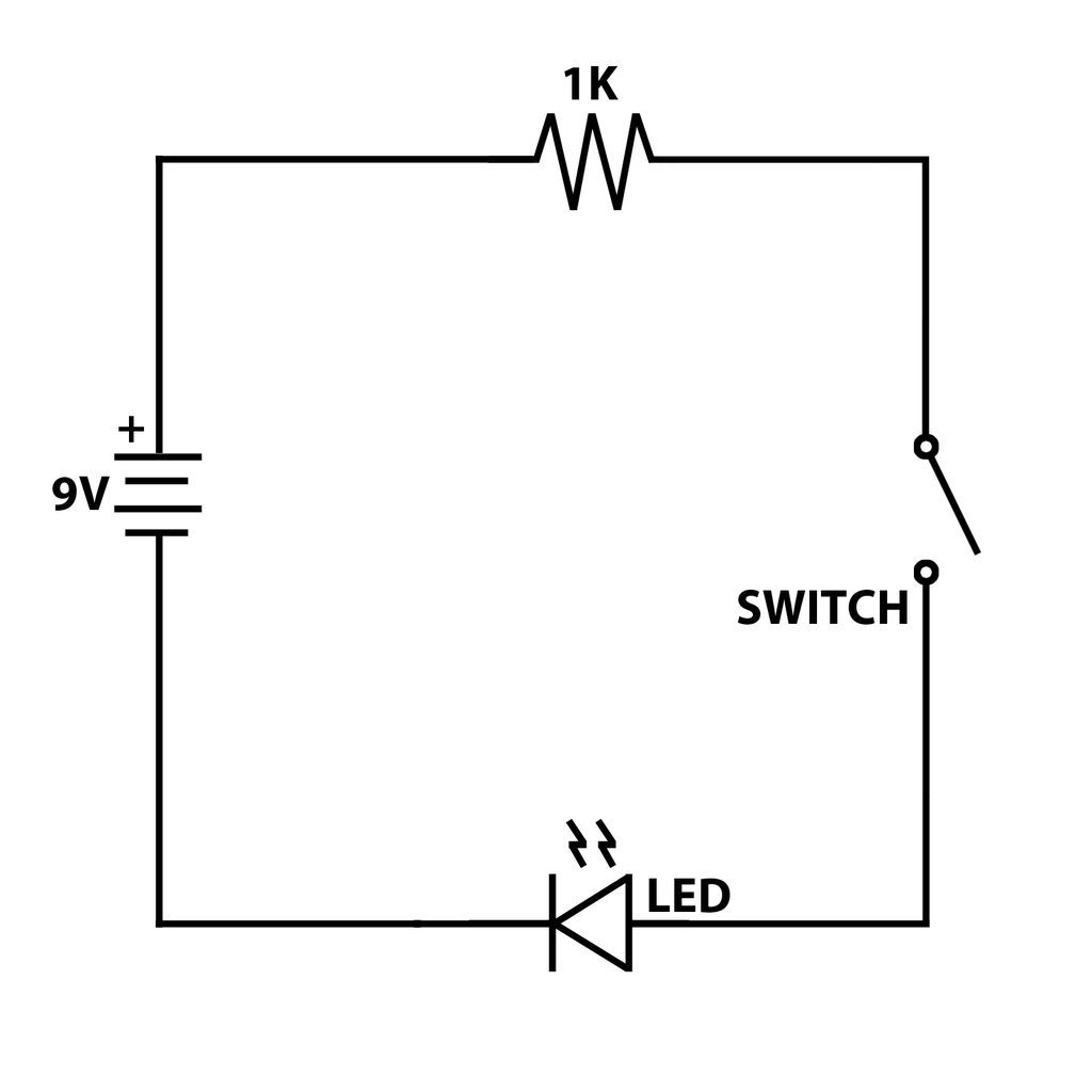 simple 9v led and switch circuit crafting tips pinterest rh pinterest com