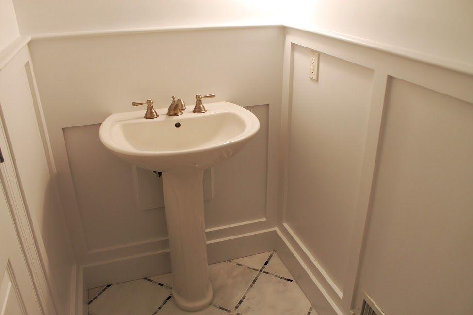Bathroom designs · Custom wainscoting in powder room