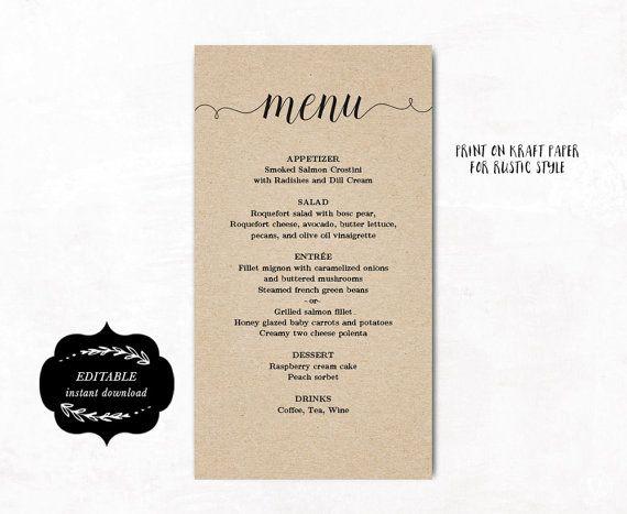 printable wedding menu template kraft paper menu by vinewedding