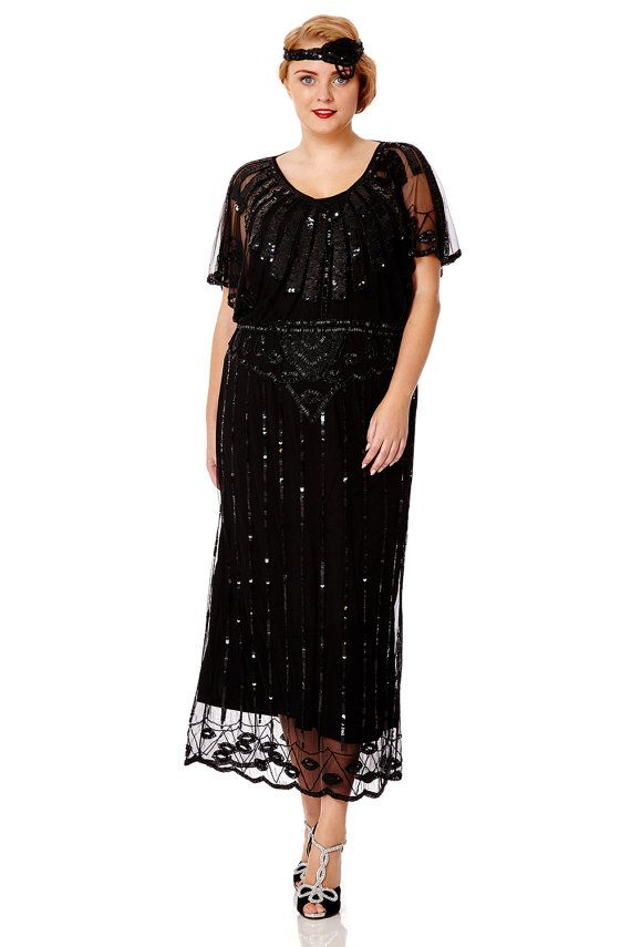 Black Angel Sleeve Prom Maxi Dress 20s Flapper Great Gatsby ...