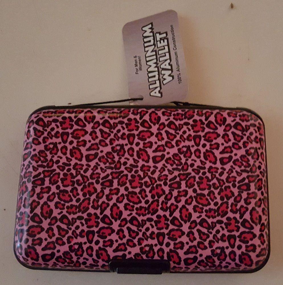 pink leopard aluminum wallet ID business credit card holder hard ...