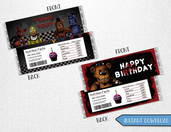 Five Nights At Freddy 39 S Chocolate Bar Five By Instantbrightparty Five Nights At Freddy S Five Night Happy Birthday Banners