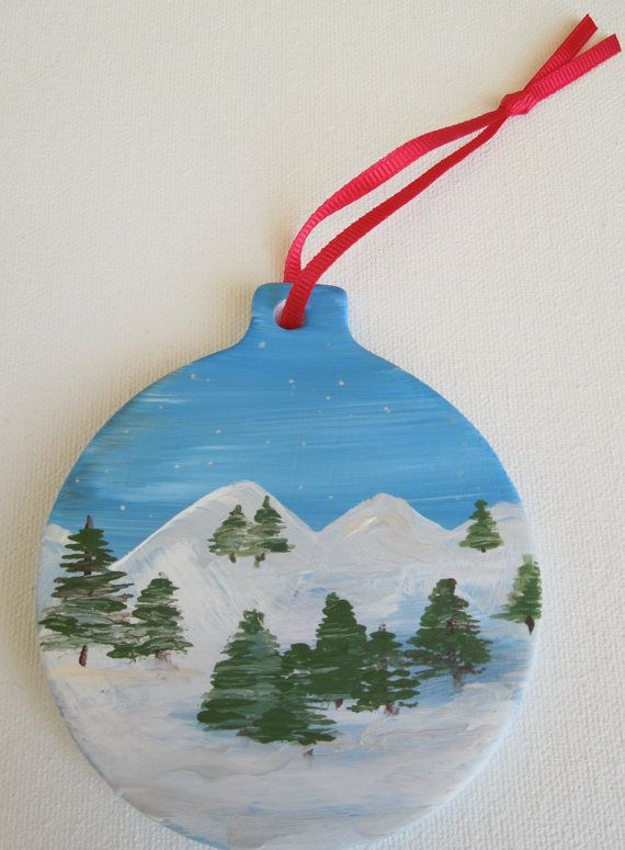 Christmas or holiday ornament. Hand painted mountain by PaintedSea
