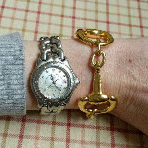 Gold Horse Bit Bracelet-Lucky Pony Shop #horsebitbracelet https://www.etsy.com/listing/204773243/horse-bit-bracelet-large-gold-bit