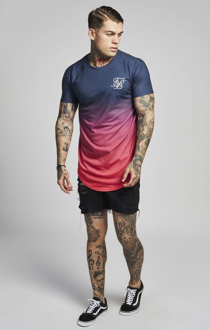 compras en venta en línea Reino Unido Camiseta SIKSILK Azul Degradado Rojo | 49 € #streetstyle ...