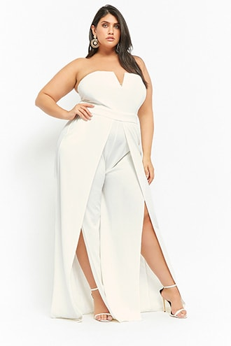 c7b512989548 Plus Size Strapless Split-Leg Jumpsuit