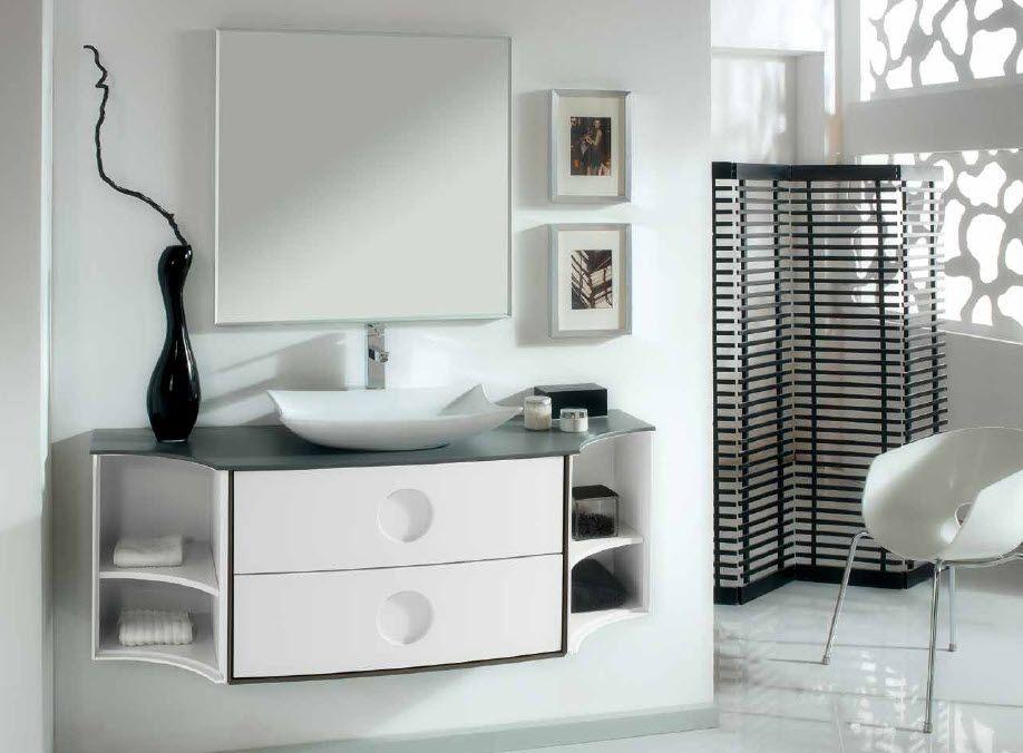 Mueble de Baño. Modulo curbo 50x80cm blanco seda. Mueble reductor ...