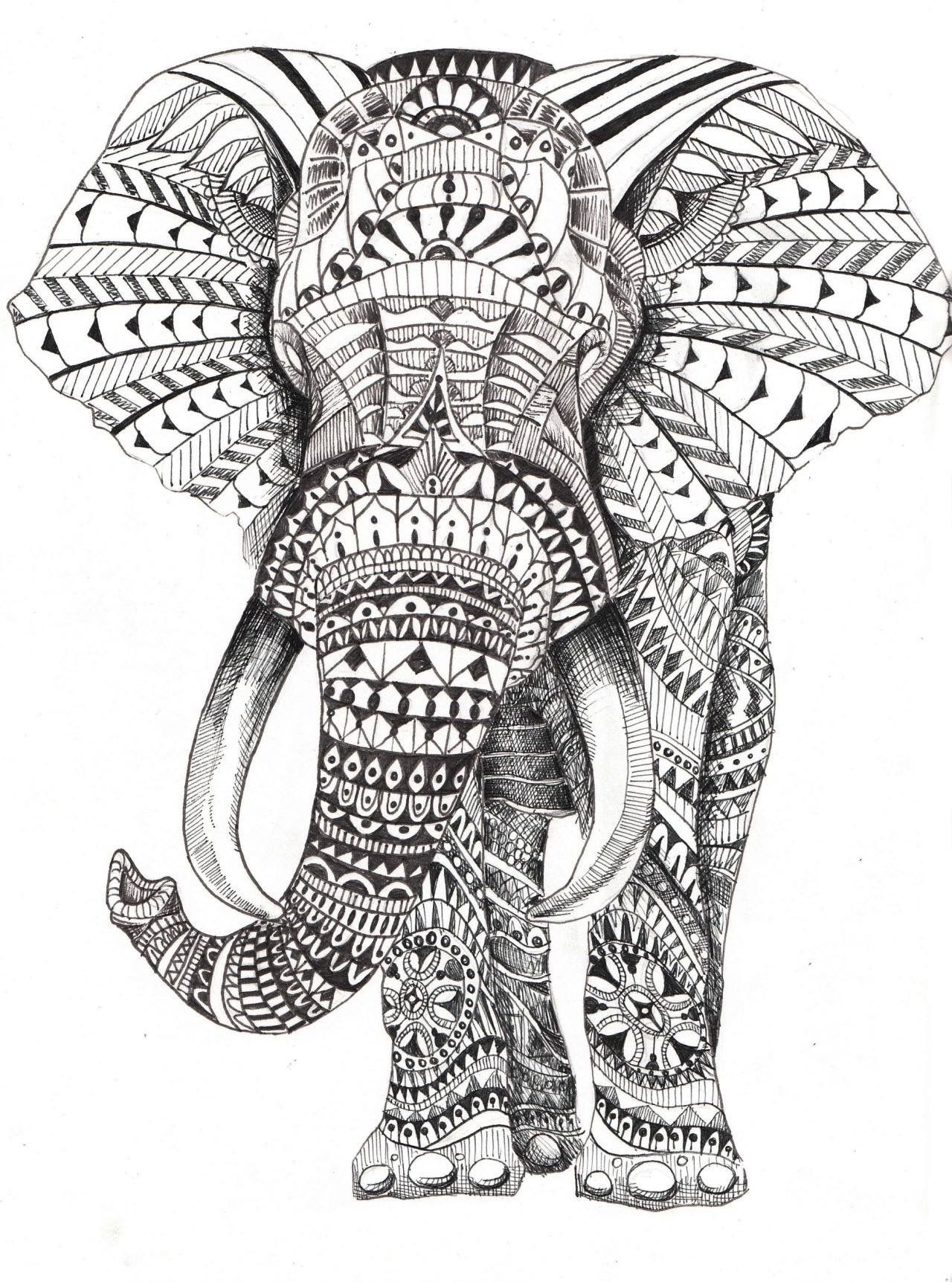 Pin by rainbow on elephant | Pinterest | Adult coloring, Mandala and ...