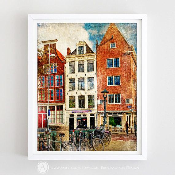 City Art Amsterdam Cityscape Print Amsterdam Art Printable Wall Art