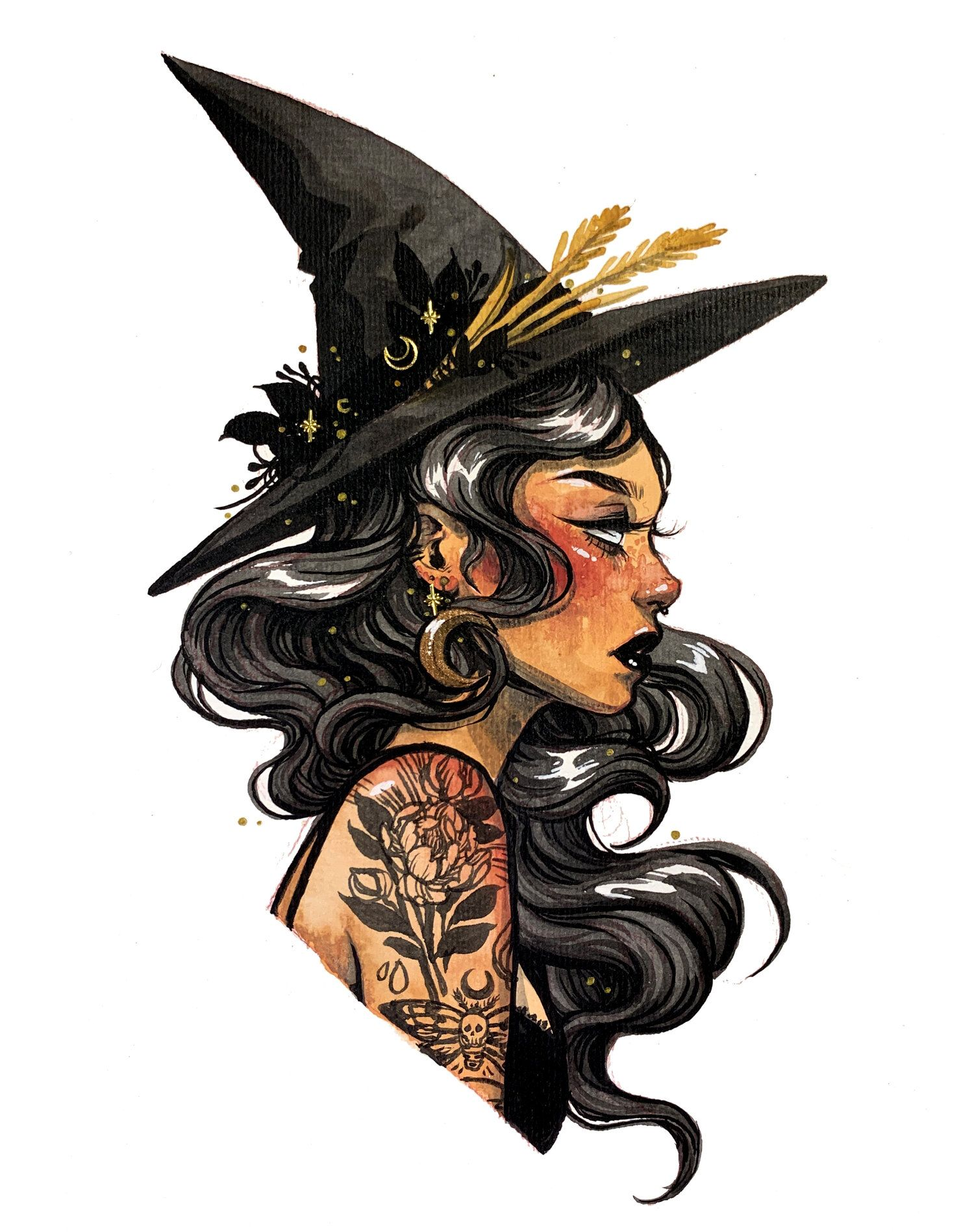 Sylvia Portrait Print Jacquelin Deleon Witch Painting Witch Art Black Cat Sticker