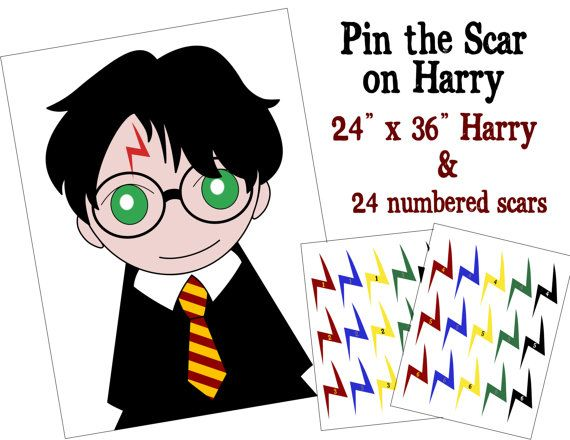 Pin The Scar On Harry Unofficial Harry Potter Party Game Harry