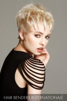 Layers upon layers give this blonde pixie volume throughout, while the interplay of texture lends a sexy, tousled feel.