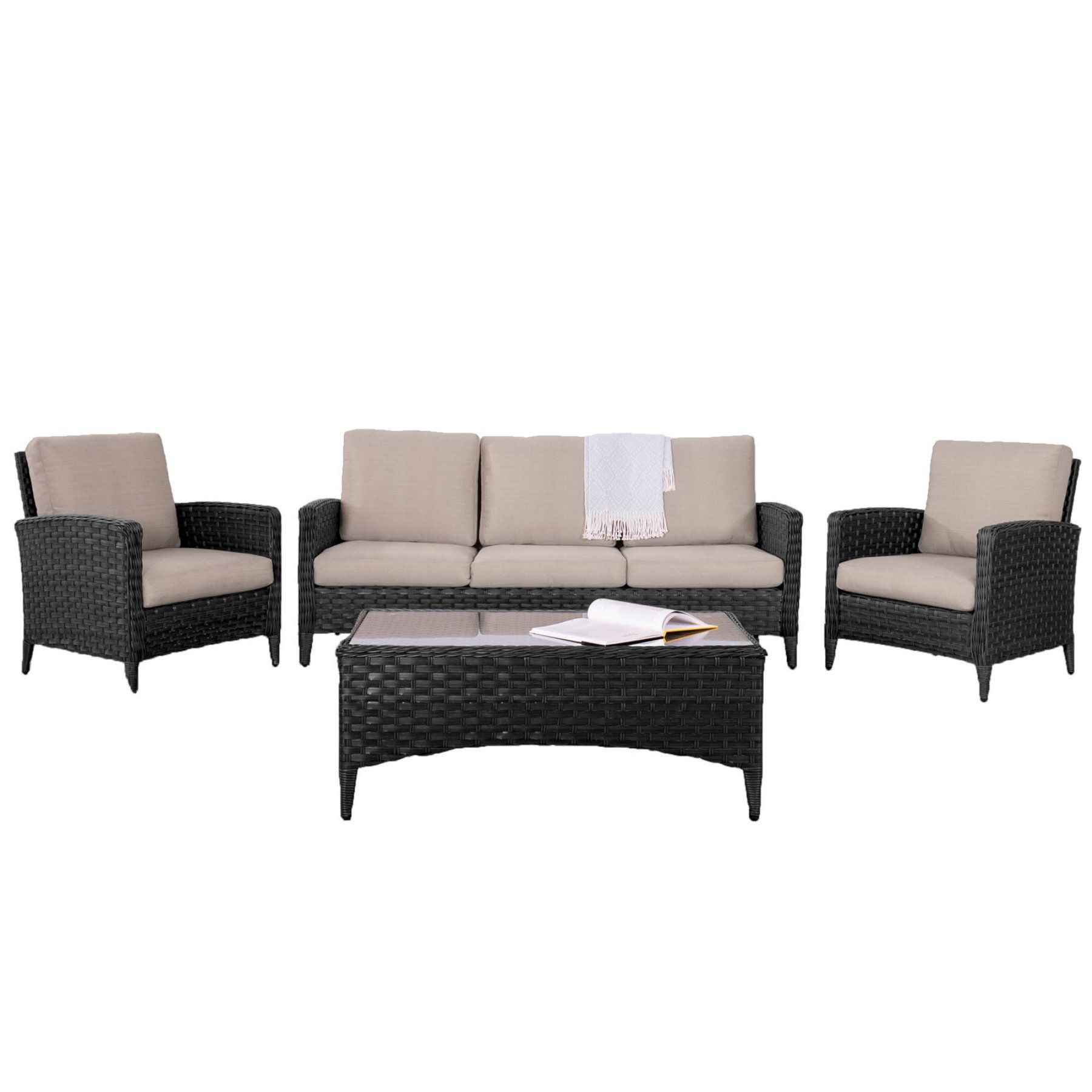 outdoor corliving parkview rattan wicker 4 piece wide sofa and chair rh pinterest com