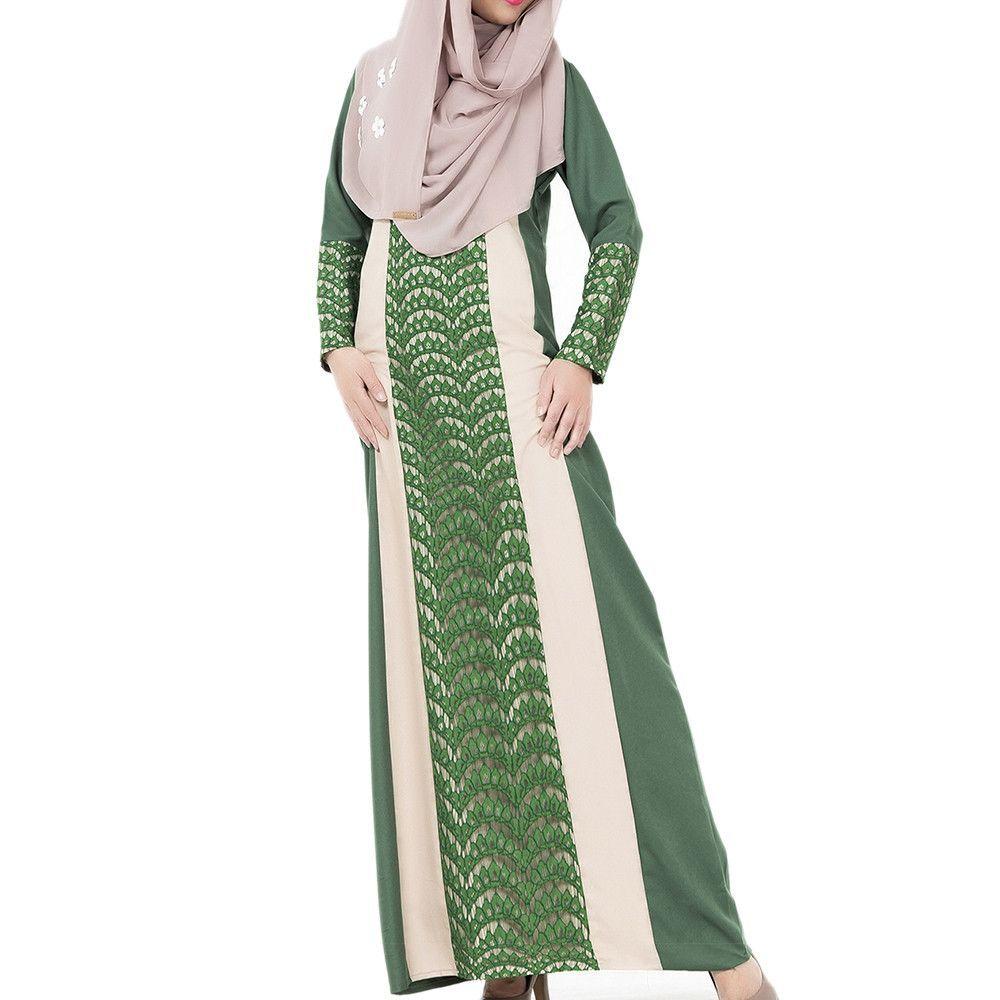 Arabian Robe Middle East Muslim Long Dress green M