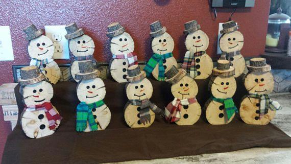 Snowmen Handmade Wooden Snowman Wood Snowman Schneemann