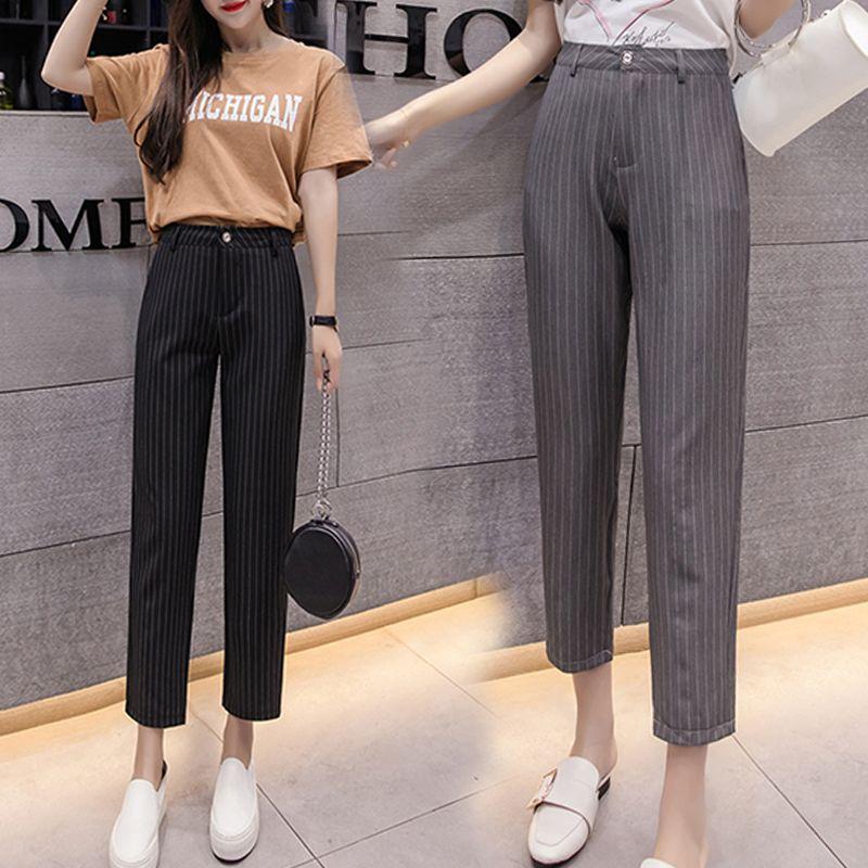 Musim panas musim gugur gaya terbaru wanita hitam striped formal kasual  celana wanita celana lurus celana 70e5808f55