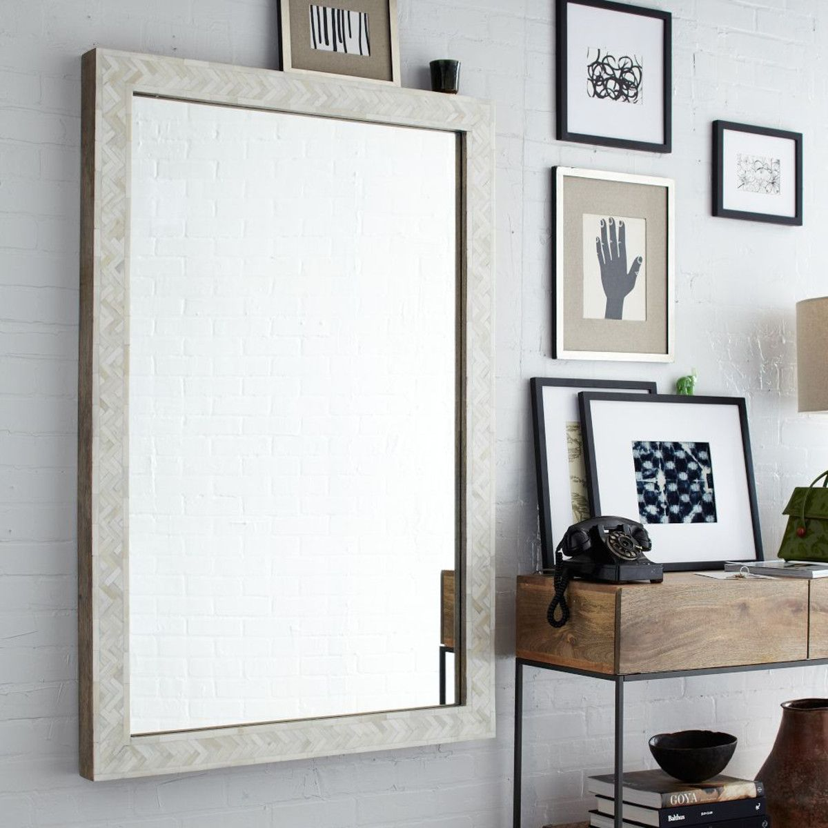 Parsons Large Wall Mirror - Bone Inlay | Walls, Room and Living room ...