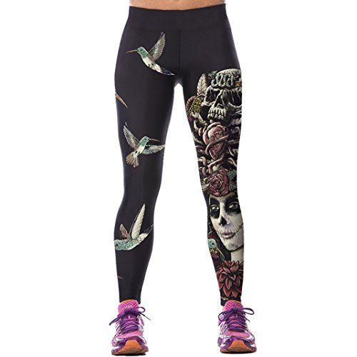 Womens Leopard Skull Printed leggings Ladies Full Length Stretchy Leggings Pants