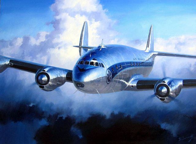 Lockheed Constellation.  this may be the most beautiful airliner design ever, with it's long, angled fuselage and distinctive triple tail.