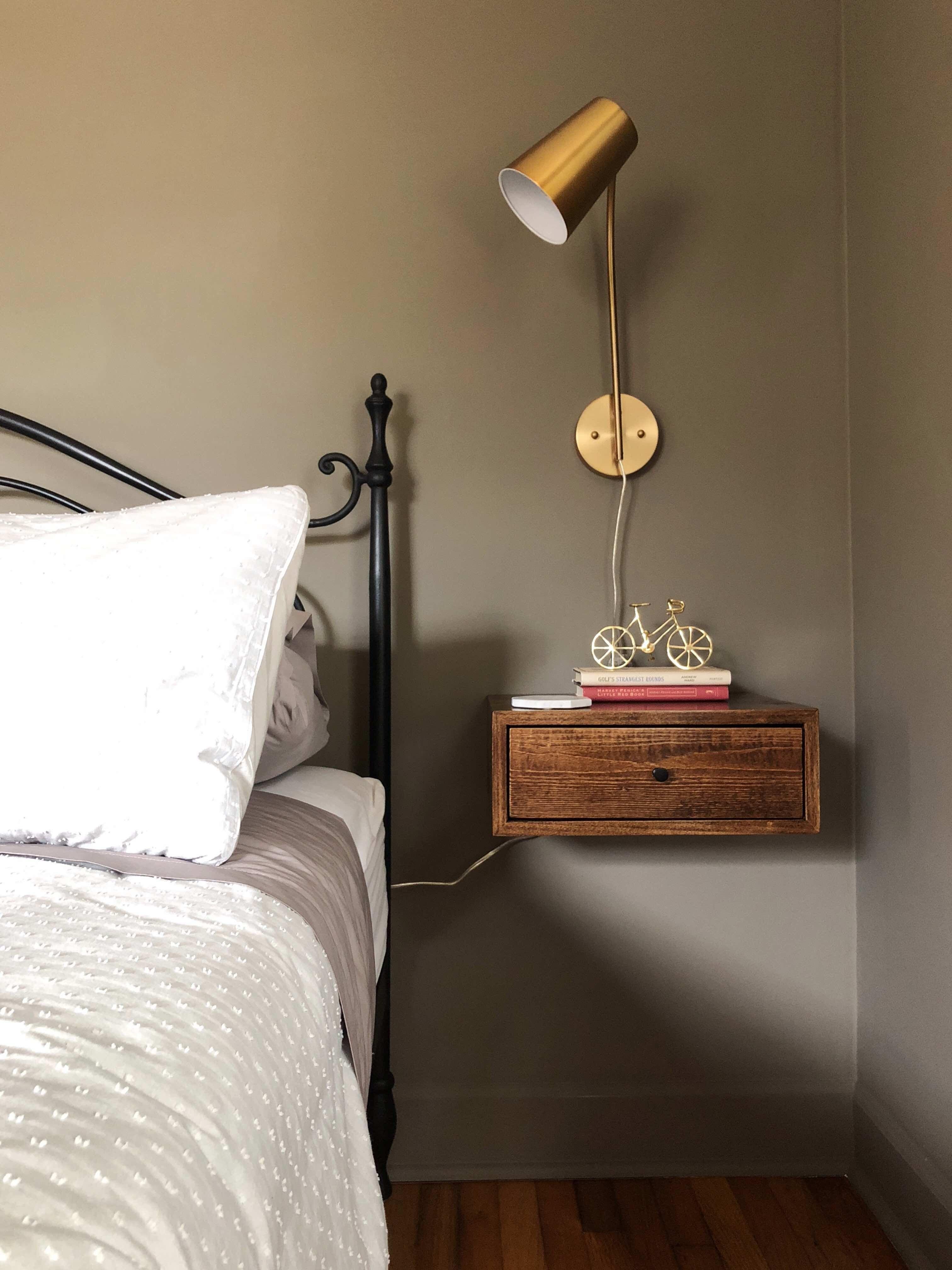 Three Surprisingly Cheap Bedroom Updates One Room Challenge Week Five Bedroom Night Stands Bedroom Updates Wall Mounted Lights Bedroom