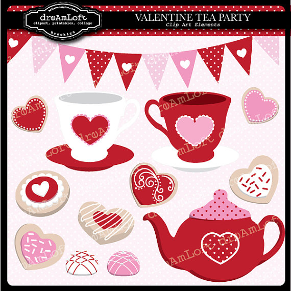 Valentine Tea Party Clip Art Digital Collage Sheet By Dreamloft 4 99 Valentine Tea Valentines Art Valentines Tea Party