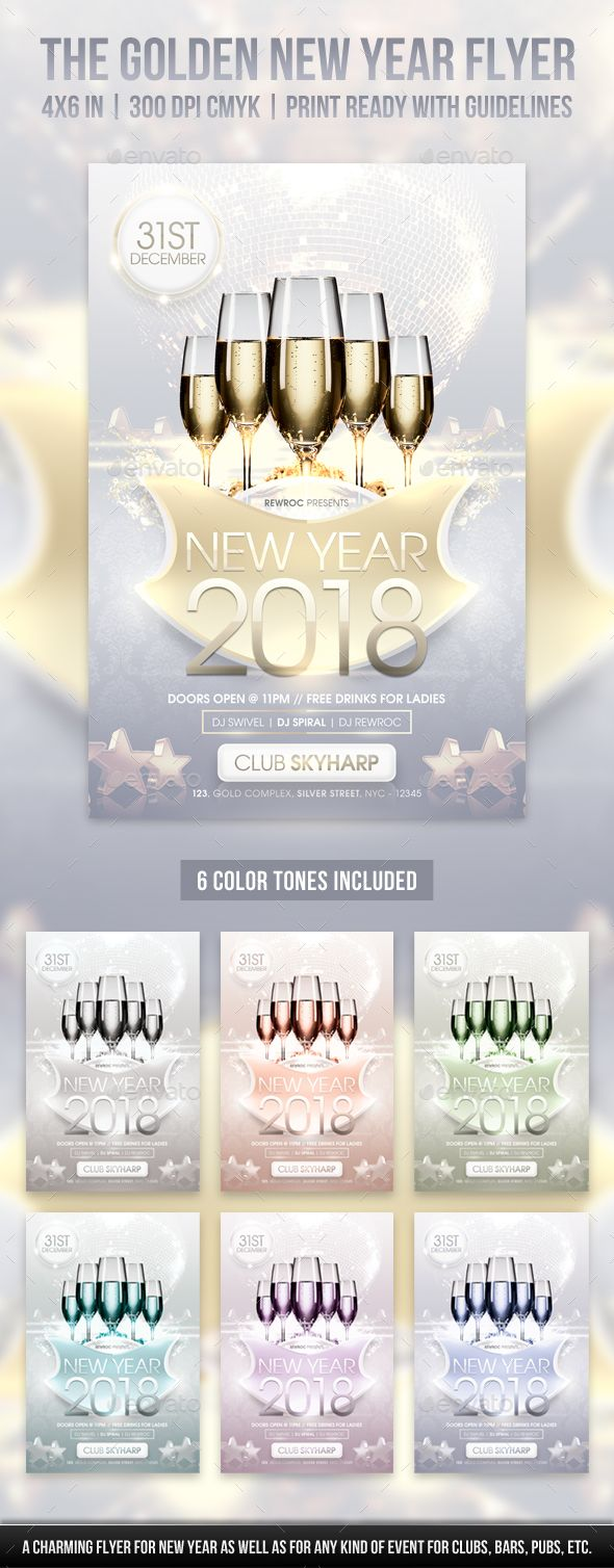 The Golden #New Year #Flyer - Holidays #Events | Event Flyer ...