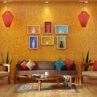 contemporary indian living room with bright color ideas ...