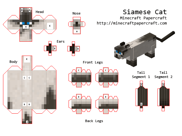 support imprimable pour r aliser un siamese cat minecraft minecraft cumple pinterest. Black Bedroom Furniture Sets. Home Design Ideas