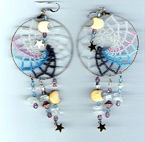 Large Beaded Dream Catcher Earrings Pattern at Sova-Enterprises.com lots of free beading patterns and tutorials are available!