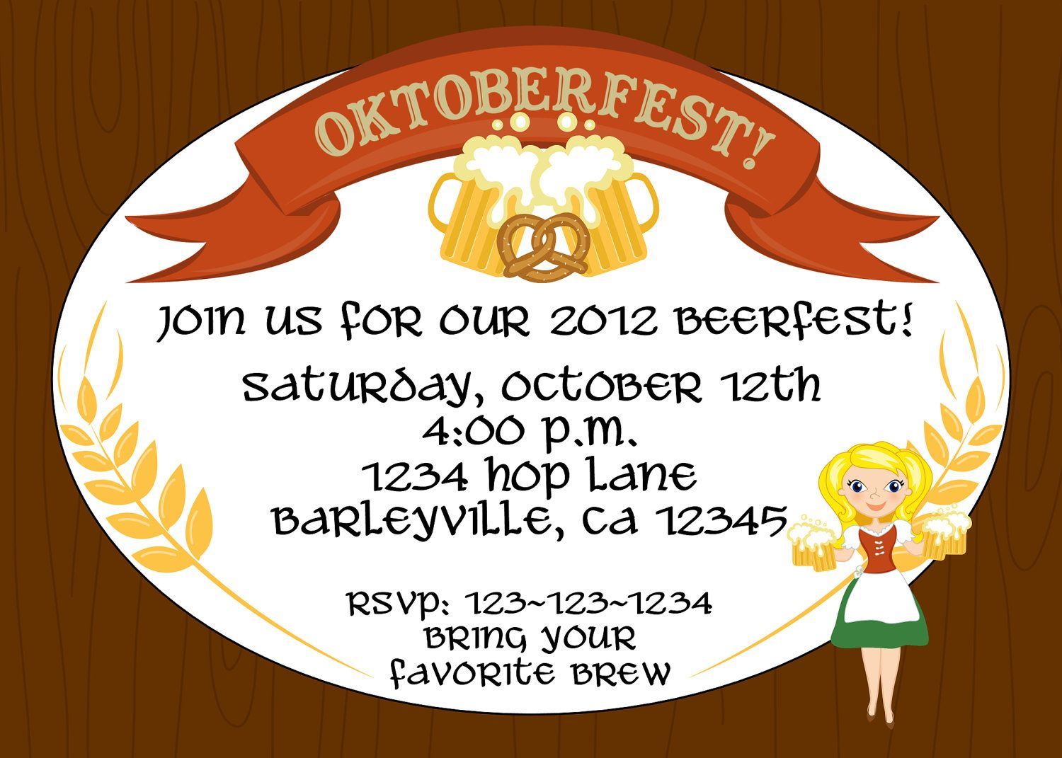 Creative Oktoberfest Beerfest Invitation Template Design Oval