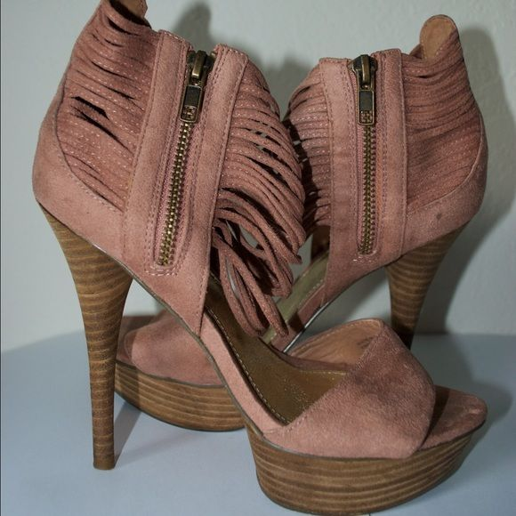 Suede platform pump with zipper detail Bakers Margo 6.5 pink. Worn a few times. Very comfortable! Bakers Shoes Platforms