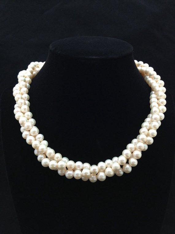 f04ea756d7e496 Twisted Triple strand Pearl Necklace,AA+ Multi Strand Genuine Pearl Necklace,Freshwater  Pearl Neckla