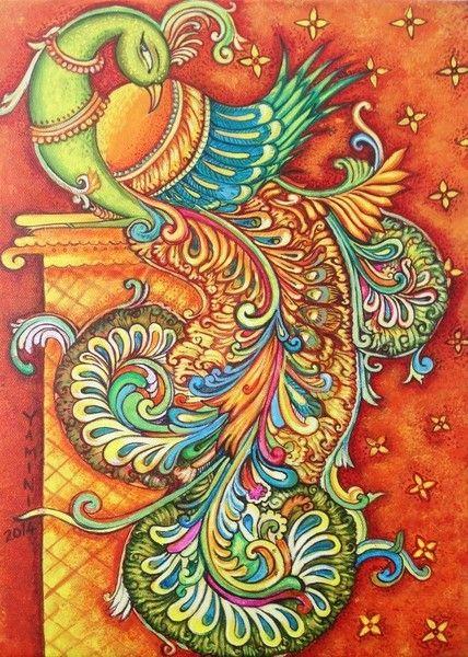 Simple Peacock Kerala Mural Painting