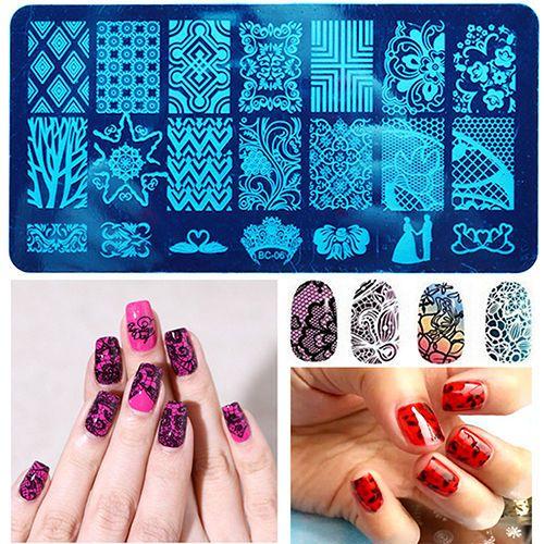 20 Designs Lace Flor Folhas Prego Ferramenta Nail Art Carimbo de Carimbar Placas Templates Imagem Polonês Selo