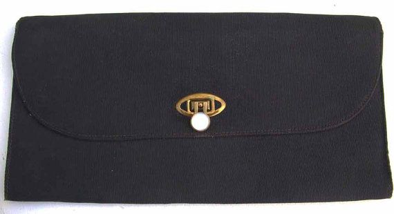 Vintage black clutch bag with 'pearl' and brass clasp by BoxV