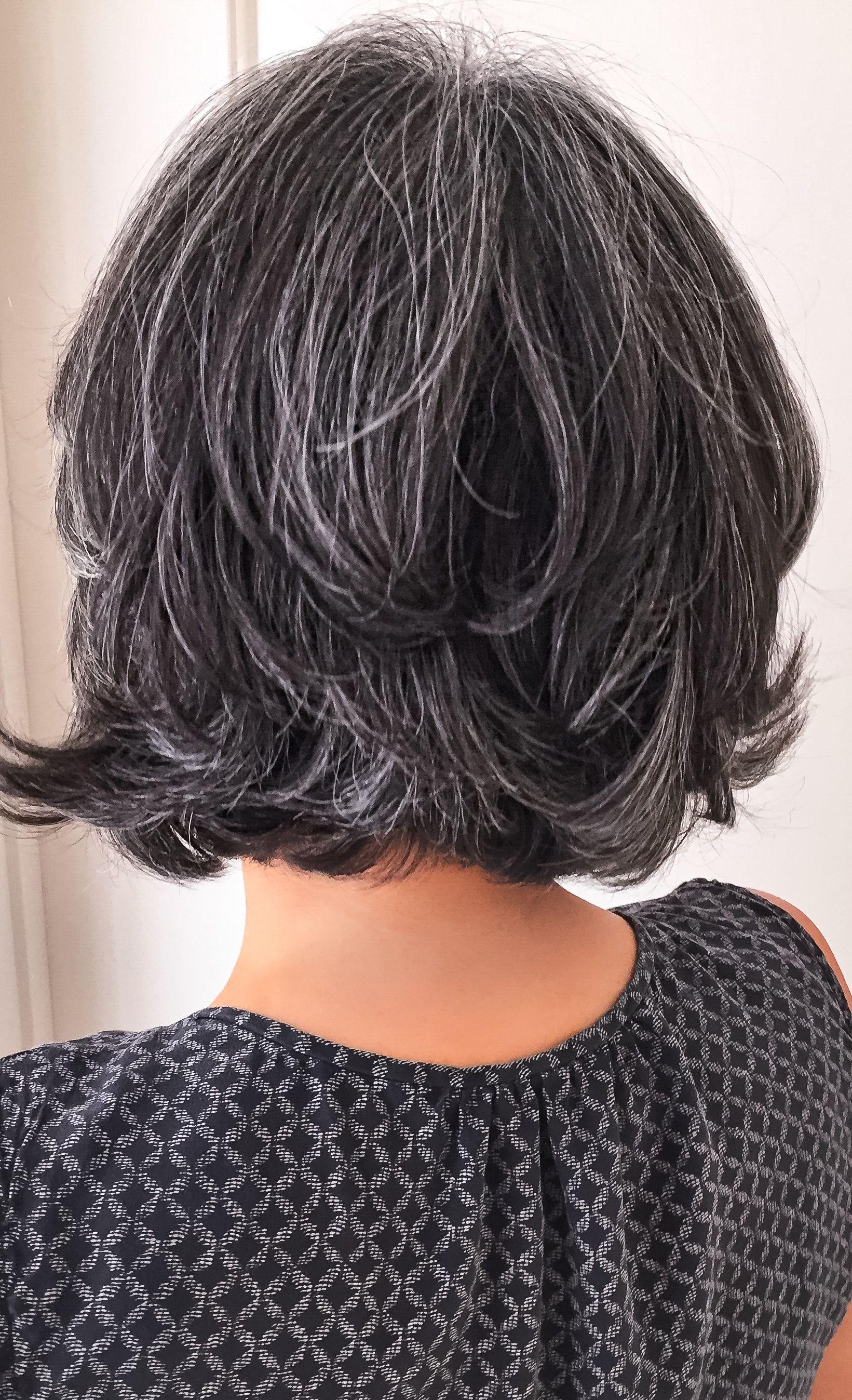 Short salt and pepper gray hair Silver hair White hair Granny