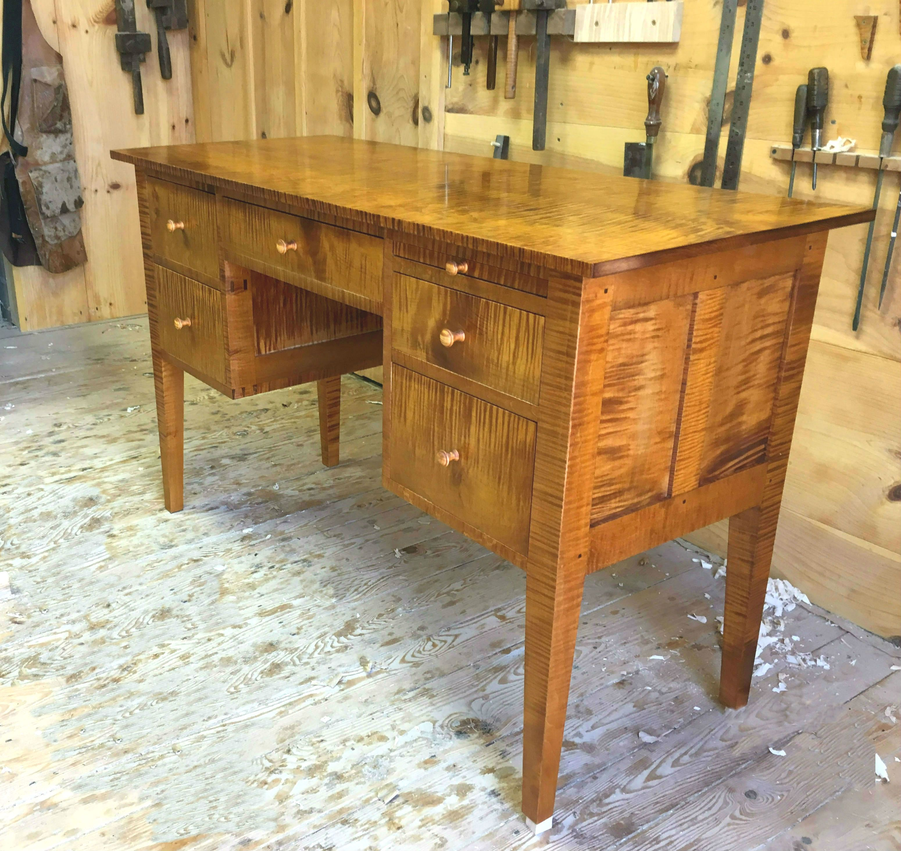 Hanover Desk Made Of Local New Hampshire Tiger Maple Maple Furniture Handmade Desks Tiger Maple
