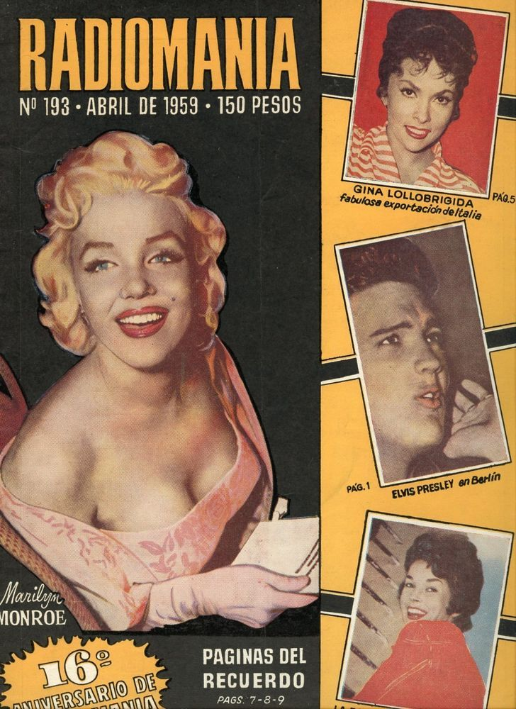 """Radiomania - April 1959, magazine from Argentina. Front cover photo of Marilyn Monroe at the premiere of """"East of Eden"""", March 1955."""