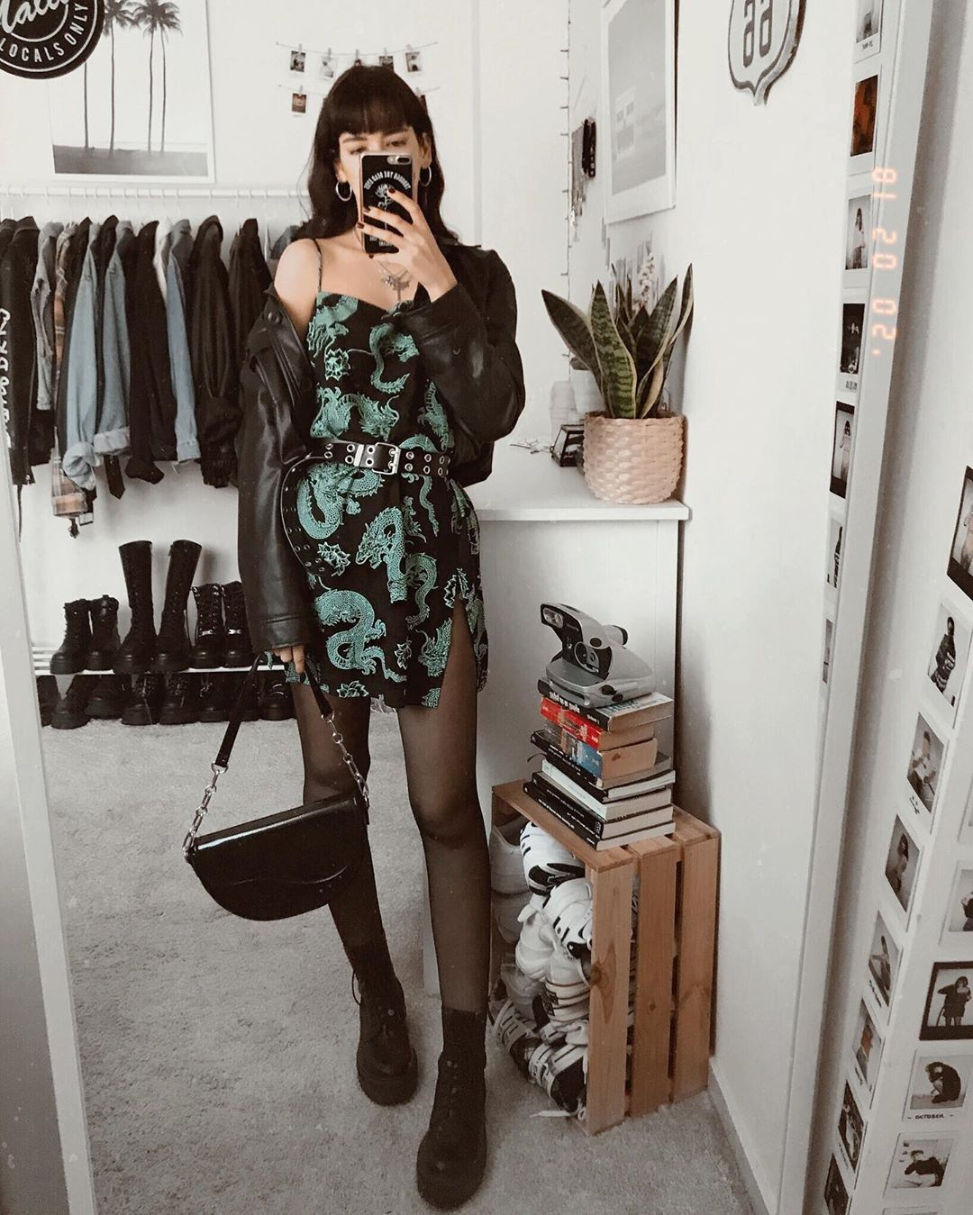 Photo of Tista Dress in Dragon Flower Black and Mint
