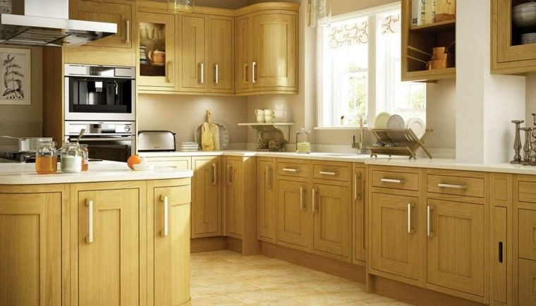 Color blanco y madera de roble para las cocinas modernas | Muebles ...