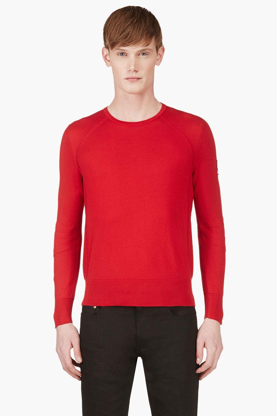 MONCLER GAMME BLEU Red Contour Sleeve Sweater