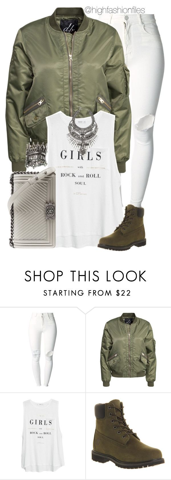 """""""Let's Get Casual"""" by highfashionfiles ❤ liked on Polyvore featuring (+) PEOPLE, D. Brand, MANGO, Timberland, DYLANLEX and Chanel"""