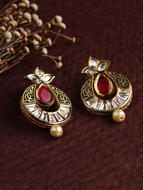 Dhruvi goldtoned u red kundan drop earrings heavy jewelllzzz