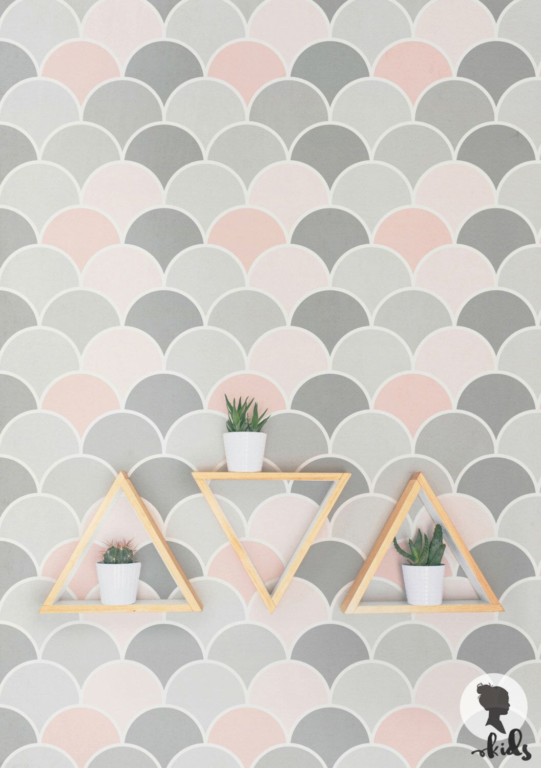 Scallop Kids Room Wallpaper Pink And Grey Removable Or Non Woven Wallpaper Removable Wallpaper Kids Room Wallpaper Room Wallpaper