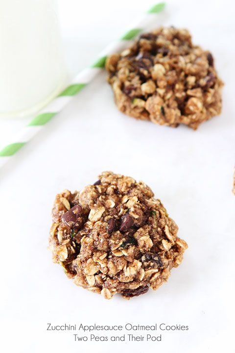 Whole Wheat Zucchini Applesauce Oatmeal Cookies On